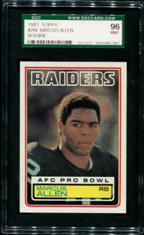 1983 Topps Football #294 Marcus Allen Rookie SGC 96 (MINT 9) *5007