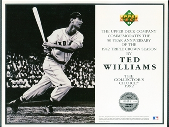 1992 Upper Deck Ted Williams Baseball Triple Crown Commemorative Sheet Lot of 10