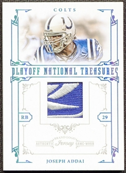 2008 Playoff National Treasures Material Prime Brand Logo #9 Joseph Addai 1/10