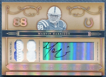 2006 Playoff National Treasures Auto Jersey Numbers Patch Marvin Harrison /88