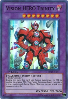 Yu-Gi-Oh Generation Force 1st Ed. Single Vision HERO Trinity Super Rare - NEAR MINT (NM)