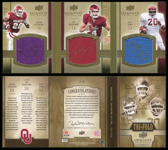 2010 Upper Deck Exquisite Triple Auto Jersey Book Adrian Peterson Billy Sims Sam Bradford 7/10