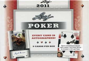 2011 Leaf Poker Trading Cards Hobby Box