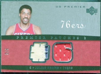 2007/08 Upper Deck Premier Patches Dual Silver #JE Julius Erving 2/6