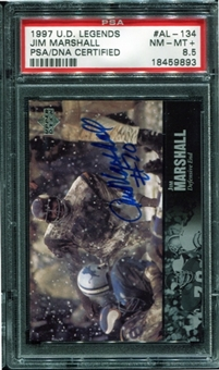1997 Upper Deck Legends Autographs #AL134 Jim Marshall PSA 8.5 NM-MT+ *9893