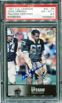 1997 Upper Deck Legends Autographs #AL65 Gene Upshaw PSA 8.5 NM-MT+ *9904