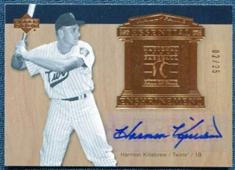 2005 Upper Deck Hall of Fame Essential Enshrinement Autograph Harmon Killebrew Twins 2/25