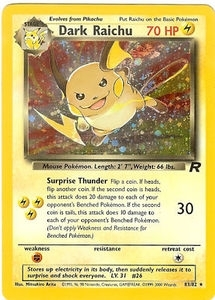 Pokemon Team Rocket 1st Edition Single Dark Raichu 83/82