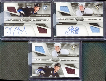 2010-11 Certified Junior Legacy Combos Autographs #1 Sidney Crosby Vincent Lecavalier 3 Card Set 2/5