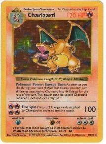 Pokemon Base Set 1 Single Charizard 4/102 - Shadowless LIGHT PLAY