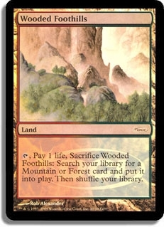 Magic the Gathering Promo Single Wooded Foothills FOIL (DCI Judge)