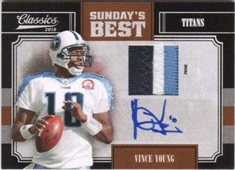 2010 Panini Classics Sunday's Best Jerseys Prime Autographs #9 Vince Young 3/5