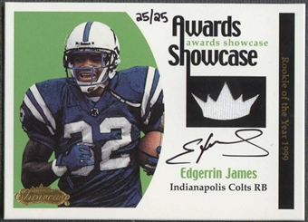 2001 Fleer Showcase Football Edgerrin James Jersey Auto #25/25