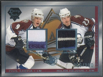 2003/04 Pacific Luxury Suite Hockey Paul Kariya & Milan Hejduk Patch #66/100