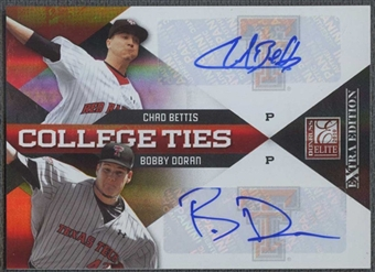 2010 Donruss Elite Baseball Chad Bettis & Bobby Doran Rookie Auto #21/50