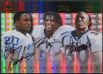 1999 Playoff Promo Auto #1 Barry Sanders Ricky Williams Terrell Davis 7/50