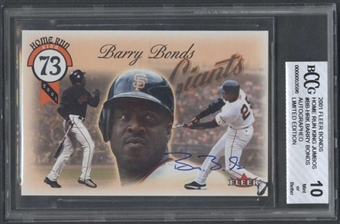 2001 Fleer Home Run King Autograph Jumbo #BB-HRK Barry Bonds 130/500 BCCG 10