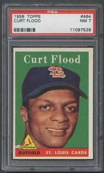 1958 Topps Baseball #464 Curt Flood PSA 7 (NM) *7529
