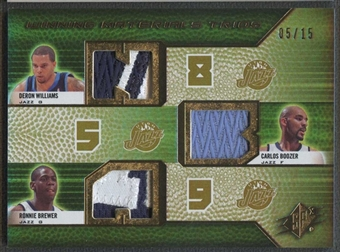 2008/09 SPX Deron Williams, Carlos Boozer, & Ronnie Brewer Patch #05/15 #1/1