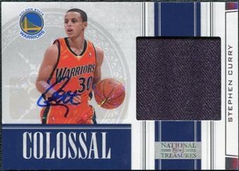 2009/10 Panini Playoff National Treasures Colossal Materials Signatures #10 Stephen Curry /49
