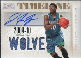 2009/10 Playoff National Treasures Timeline Materials Custom Team Nicknames Signatures #6 Jonny Flynn /30