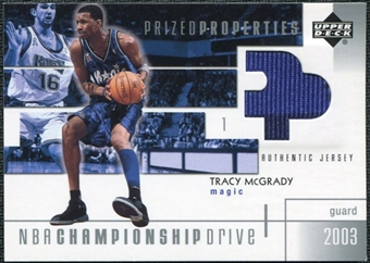 2002/03 Upper Deck Championship Drive Prized Properties Jersey #TMPP Tracy McGrady