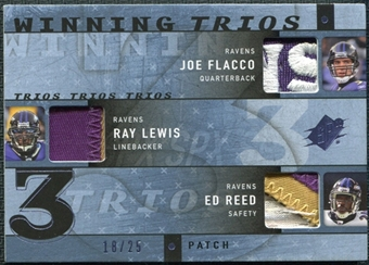 2009 Upper Deck SPx Winning Trios Patch #BAL Joe Flacco/Ray Lewis/Ed Reed /25