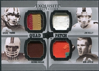 2010 Upper Deck Exquisite Collection Patch Quads #YKKG Jim Kelly Bernie Kosar Bob Griese Steve Young /15