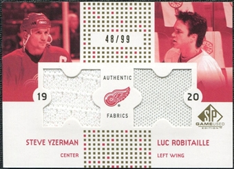 2002/03 Upper Deck SP Game Used Authentic Fabrics Gold #CFYR Steve Yzerman Luc Robitaille /99