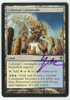 Magic the Gathering Worldwake Single Celestial Colonnade SIGNED - SLIGHT PLAY (SP)