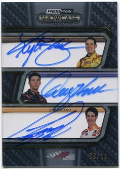 2010 Press Pass Showcase Classic Collections Ink Gold #CCIJGR Kyle Busch Denny Hamlin Joey Logano 9/10