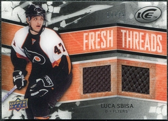 2008/09 Upper Deck Ice Fresh Threads Black Parallel #FTSB Luca Sbisa /25