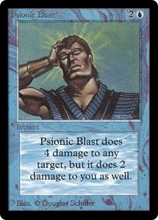Magic the Gathering Beta Single Psionic Blast MODERATE PLAY (VG/EX)
