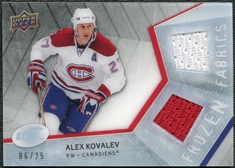 2008/09 Upper Deck Ice Frozen Fabrics Black Parallel #FFAK Alex Kovalev /25
