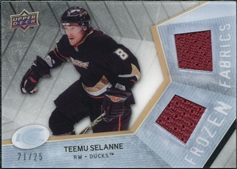 2008/09 Upper Deck Ice Frozen Fabrics Black Parallel #FFTS Teemu Selanne /25