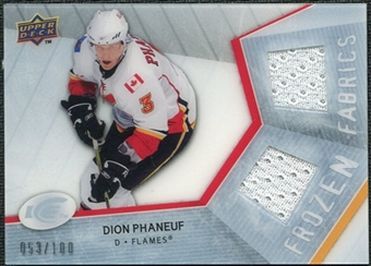 2008/09 Upper Deck Ice Frozen Fabrics Parallel #FFDP Dion Phaneuf /100