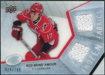 2008/09 Upper Deck Ice Frozen Fabrics Parallel #FFRD Rod Brind`Amour /100