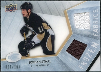 2008/09 Upper Deck Ice Frozen Fabrics Parallel #FFST Jordan Staal /100