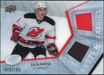 2008/09 Upper Deck Ice Frozen Fabrics Parallel #FFZP Zach Parise /100