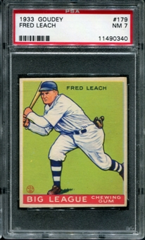 1933 Goudey Baseball #179 Fred Leach PSA 7 (NM) *0340