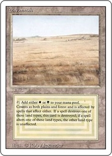 Magic the Gathering 3rd Ed (Revised) Single Savannah - MODERATE PLAY (MP)