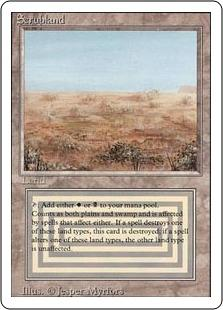 Magic the Gathering 3rd Ed (Revised) Single Scrubland - HEAVY PLAY (HP)