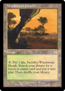 Magic the Gathering Onslaught Single Windswept Heath - MODERATE PLAY (MP)
