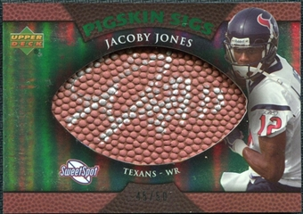 2007 Upper Deck Sweet Spot Pigskin Signatures Green #JJ Jacoby Jones /50