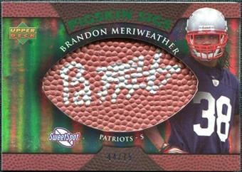 2007 Upper Deck Sweet Spot Pigskin Signatures Green #ME Brandon Meriweather /75