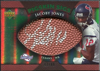 2007 Upper Deck Sweet Spot Pigskin Signatures Green #JJ Jacoby Jones /99