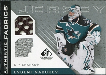 2007/08 Upper Deck SP Game Used Authentic Fabrics #AFEN Evgeni Nabokov