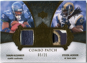 2007 Upper Deck Exquisite Collection Patch Combos #AJ Shaun Alexander Steven Jackson /25