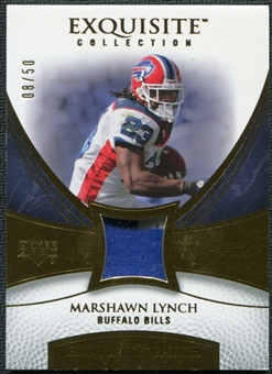 2007 Upper Deck Exquisite Collection Patch Gold #ML Marshawn Lynch 8/50