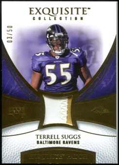 2007 Upper Deck Exquisite Collection Patch Gold #TS Terrell Suggs 3/50